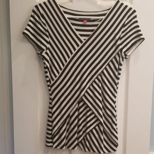Black and white top with criss cross layers